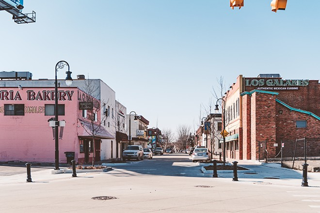 Mexicantown's new streetscape has a plaza-like feel. - XAVIER CUEVAS