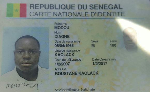 Modou Diagne's ID card. - PHOTO COURTESY FATOU-SEYDI SARR