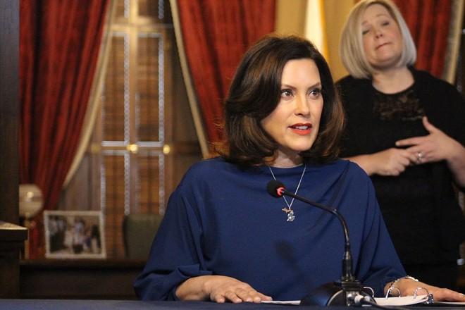 Gov. Gretchen Whitmer at Monday's press conference. - STATE OF MICHIGAN