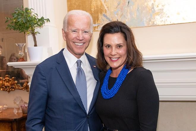 Former Vice President Joe Biden, left, and Michigan Gov. Gretchen Whitmer. - GOV. GRETCHEN WHITMER'S TWITTER