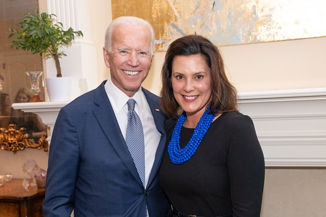 Former Vice President Joe Biden, left, and Michigan Gov. Gretchen Whitmer. - GOV. GRETCHEN WHITMER'S TWITTER