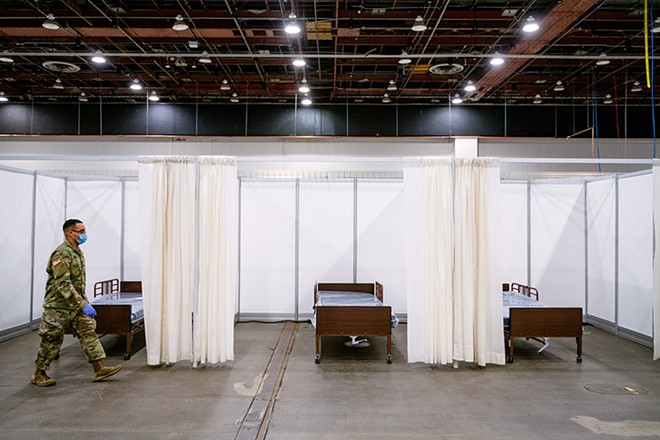 The U.S. Army Corps of Engineers converted the TCF Center (formerly Cobo Center) in downtown Detroit into a 1,000-bed field hospital, which is expected to begin serving COVID-19 patients on Thursday. - COURTESY OF TCF CENTER