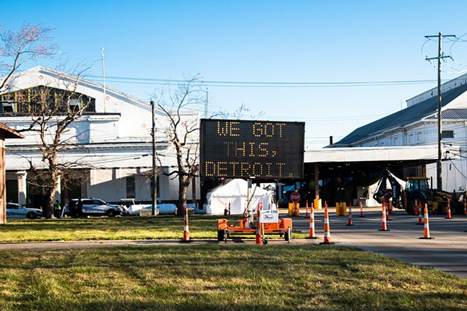 A sign outside of Detroit's drive-through coronavirus testing facility at the former State Fairgrounds. - COURTESY OF THE CITY OF DETROIT