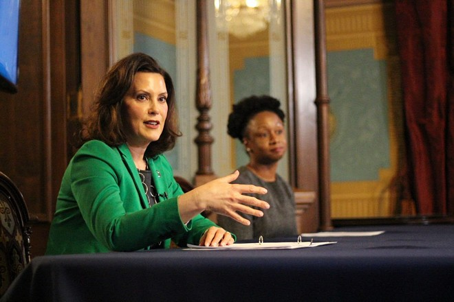 Gov. Gretchen Whitmer and Dr. Joneigh Khaldun, the state's chief medical officer, at a news conference Thursday. - STATE OF MICHIGAN