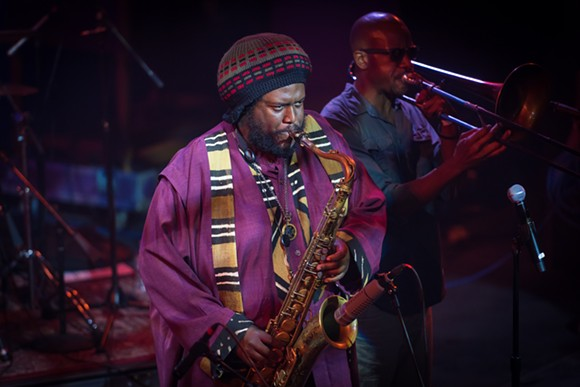 Kamasi Washington performing at BRIC JazzFest Marathon in Brooklyn, NY last year. - PHOTO BY STEVEN PISANO, FROM WIKIPEDIA.