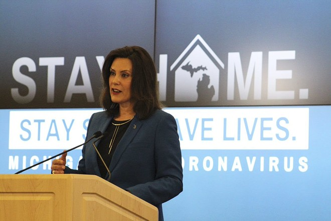 Gov. Gretchen Whitmer at a recent news conference. - STATE OF MICHIGAN
