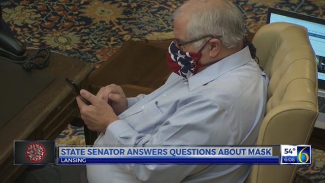Lawmaker apologizes for face mask that looks like Confederate flag
