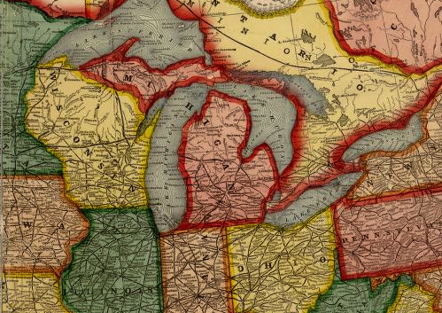The state that give you a big hello is big, but how big is it? - DETAIL FROM THE CENTENNIAL AMERICAN REPUBLIC AND RAILROAD MAP OF THE UNITED STATES AND OF THE DOMINION OF CANADA, 1875, FROM THE LIBRARY OF CONGRESS