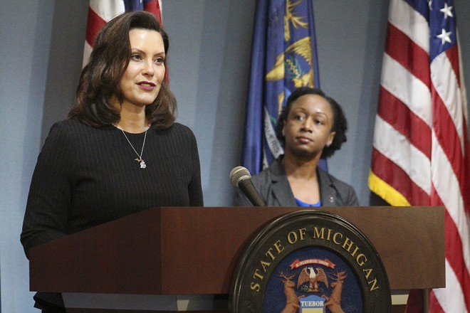 Gov. Gretchen Whitmer (left), with Dr. Joneigh Khaldun, at a recent news conference. - STATE OF MICHIGAN