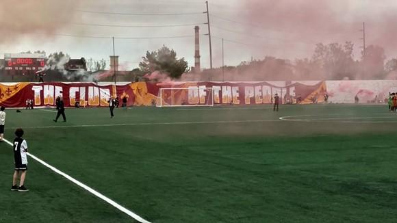 The action at Keyworth involved high spirits, volume, and plenty of colored smoke. - PHOTO COURTESY JIMMY DOOM