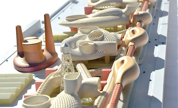 This model, which resembles a half-finished Habitrail, shows a cogeneration plant, corporate research centers, and movable university collaboration spaces: In short, just the sort of thing the building's new neighbors, plagued by crime, poverty, and pollution, have never asked for. - IMAGE COURTESY GREG LYNN FORM