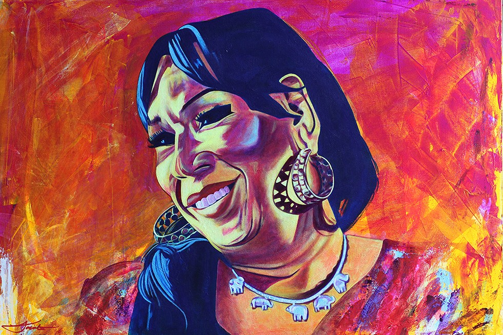 """""""Portrait of Lorena Borjas"""" by Jacinto Herrera. Lorena Borjas was a Mexican-American transgender and immigration activist; she died from COVID-19 on March 30, 2020. - COURTESY OF THE ARTIST"""