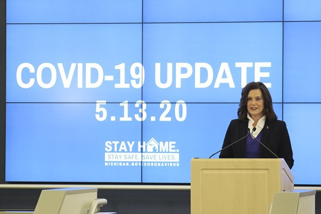 Gov. Gretchen Whitmer at a news conference Wednesday. - STATE OF MICHIGAN