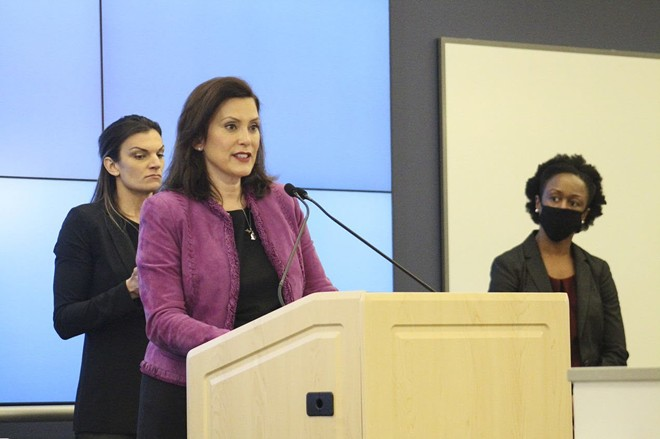 Gov. Gretchen Whitmer at a news conference Friday. - STATE OF MICHIGAN