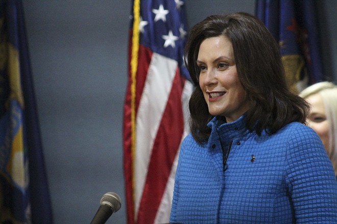 Gov. Gretchen Whitmer at a news conference Monday. - STATE OF MICHIGAN