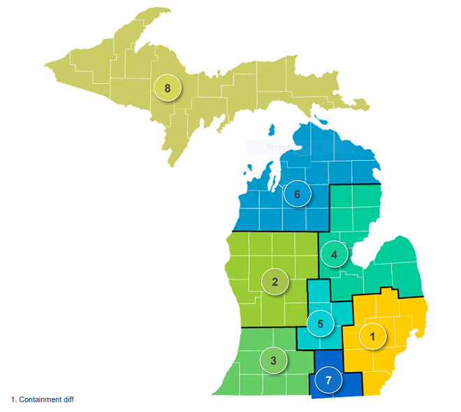 The loosened restrictions were in regions 8 and 6. - STATE OF MICHIGAN