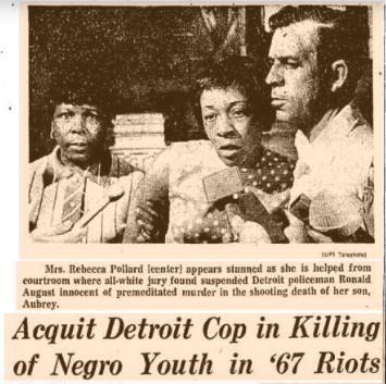 June 11, 1969 Chicago Tribune article reporting on the acquittal of Detroit police officer Ronald August, who killed 19-year old Aubrey Pollard at the Algiers Motel in '67.