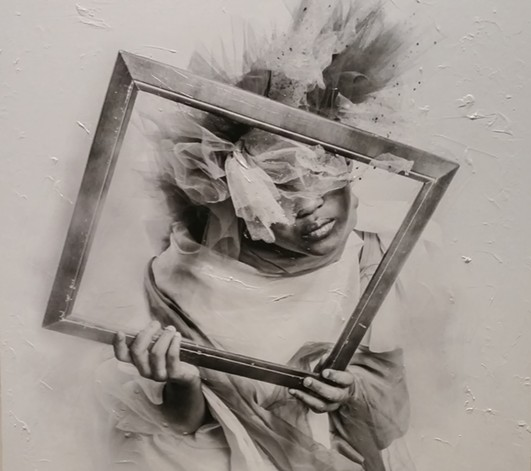 """FRAMED THOUGHTS II"" (MIXED MEDIA) BY ACKEEM SALMON"