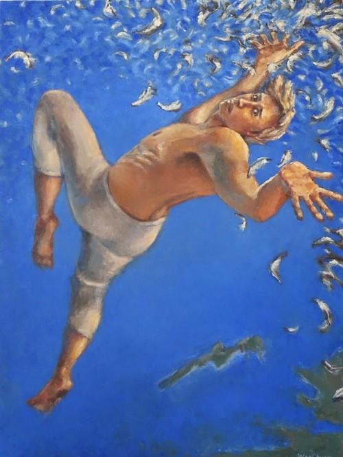"WanChuan Kesler's ""Icarus"" – oil on canvas. - COURTESY NORTHVILLE ART HOUSE"