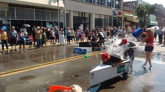 Here's another canoe getting doused. - PHOTOS BY MICHAEL JACKMAN