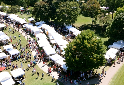 Aerial view of Rochester Municipal Park during Arts & Apples. - SCREENGRAB FROM PCCA WEBSITE