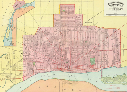 """""""Detroit's street plan, with the exception of a very few leading avenues, is a thing of slivers and make-shift odds and ends that form as bewildering a conglomeration of misfit adjustment as the most ingenious inventor of a labyrinth could devise."""" —Detroit Tribune, 1904 - RAND MCNALLY MAP OF DETROIT, 1900"""