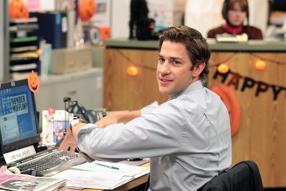 "John Krasinski stealing our hearts as Jim in ""The Office."" - IMDB"