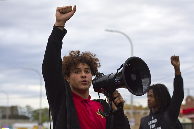Stefan Perez was one of the leaders of Monday's peaceful protest. - STEVE NEAVLING