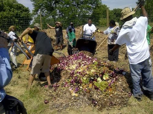 Composting at D-Town Farm in Detroit. - COURTESY MALIK YAKINI