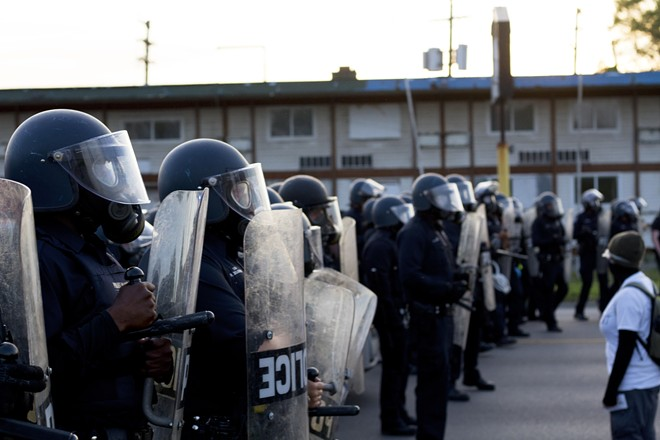 Detroit police in riot gear at a recent protest. - STEVE NEAVLING