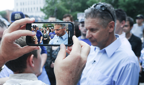 Libertarian presidential nominee Gary Johnson at his first New Hampshire campaign rally this summer. - PHOTO BY ANDREW CLINE COURTESY SHUTTERSTOCK