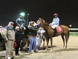 Jockey Wayne Barnett continued his unlikely comeback Friday night at Hazel Park with two more victories, including a wire-to-wire win in the sixth race aboard Art I Awesome. - PHOTO BY DAVE MESREY