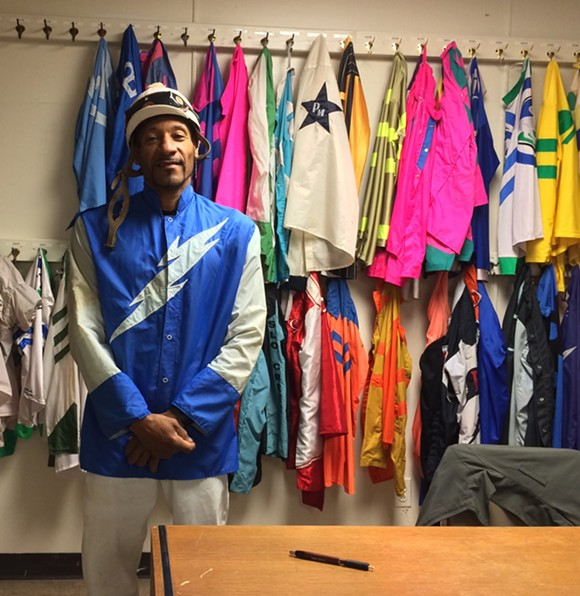 Wayne Barnett in the jocks' room at Hazel Park Raceway. - PHOTO BY DAVE MESREY