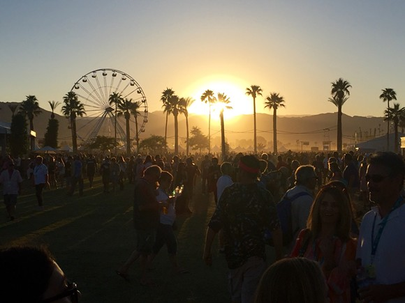 The sun sets over the Desert Trip festival in Indio, Calif. - PHOTO BY DUSTIN BLITCHOK