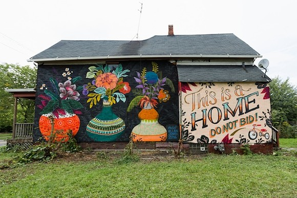 A political mural now graces the house at 4500 Van Dyke St., Detroit. - COURTESY THE TRICYCLE COLLECTIVE