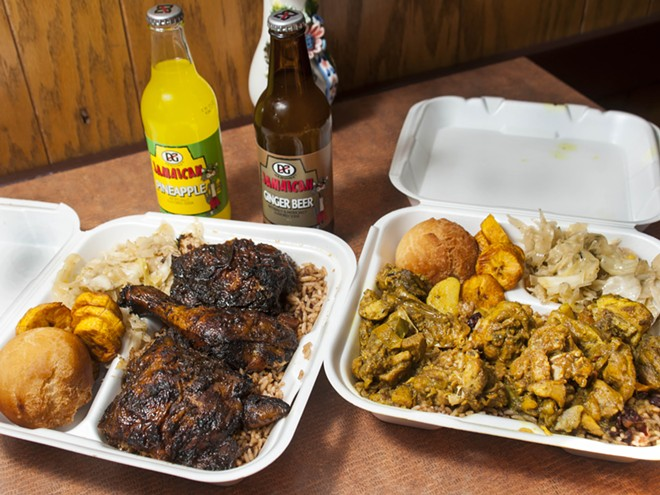 Jerk chicken and curry chicken at Jamaica Jamaica - PHOTO BY TOM PERKINS