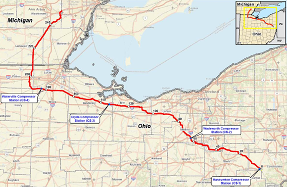 FERC - The NEXUS pipeline route. - FERC