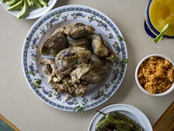 The carnitas at Taqueria El Rey gain much from their deep-frying in lard. - PHOTO BY JACOB LEWKOW.