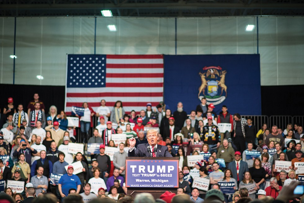 Simpler times: Then-candidate Donald Trump campaigning in Warren. - SHUTTERSTOCK.
