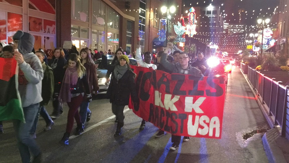 Anti-Trump protest in Detroit. - PHOTO BY GABRIEL GOODWIN