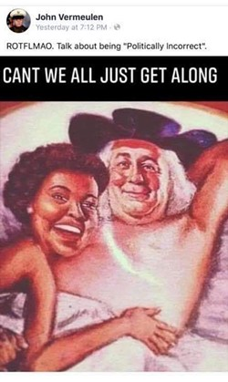 A meme depicting the mascots of Aunt Jemima and Quaker Oats posted on the Facebook account of Shelby Twonship trustee John Vermeulen. - JOHN VERMEULEN'S FACEBOOK