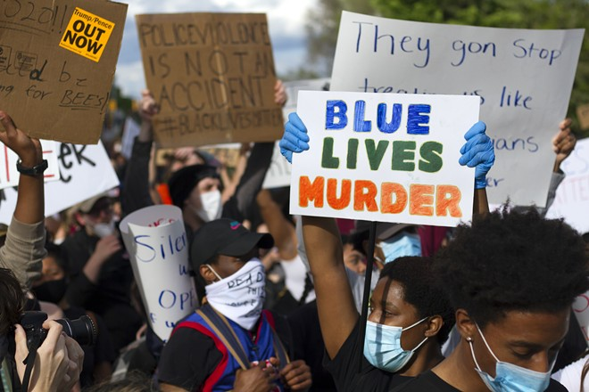 A recent protest against police brutality in Detroit. - STEVE NEAVLING