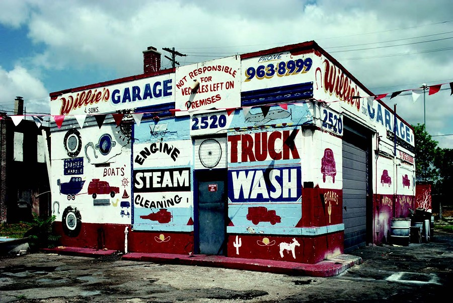 Through photography, Vergara hopes to protect eye-popping examples of hand-painted commercial art from oblivion. Willie's Garage, pictured here, is now trendy Corktown eatery Katoi.