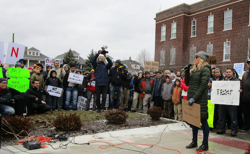 A Wayne State Student addresses the crowd. - PHOTO BY MICHAEL JACKMAN
