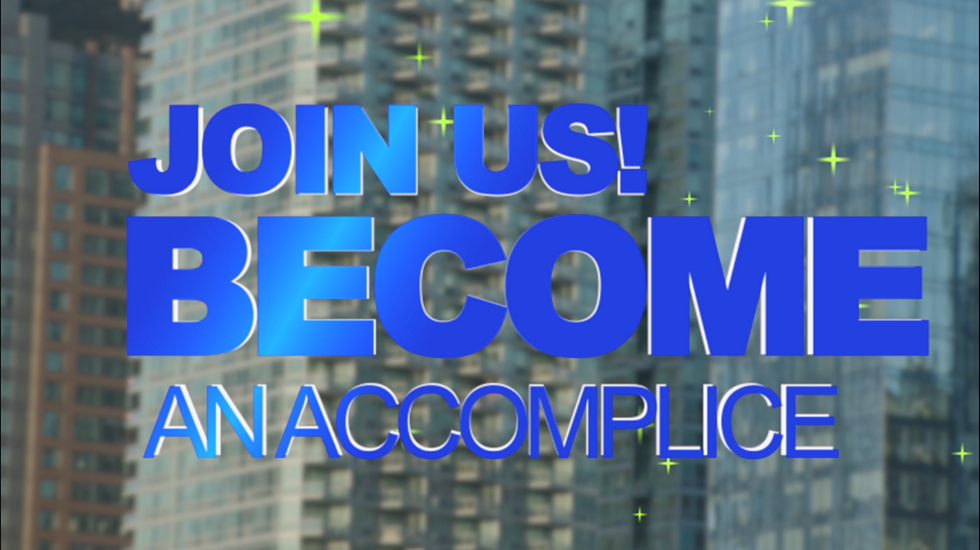 "An informercial-like video invites recruits to become an ""accomplice."" - NEW RED ORDER"