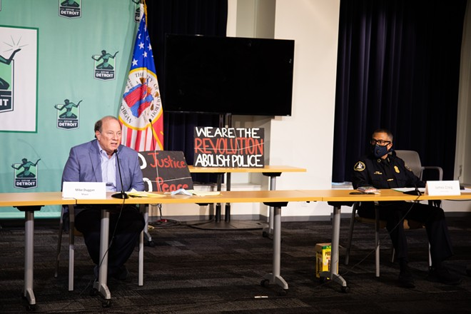 Detroit Mayor Mike Duggan, left, and Police Chief James Craig at a recent press conference about Detroit's police brutality protests. - CITY OF DETROIT, FLICKR CREATIVE COMMONS