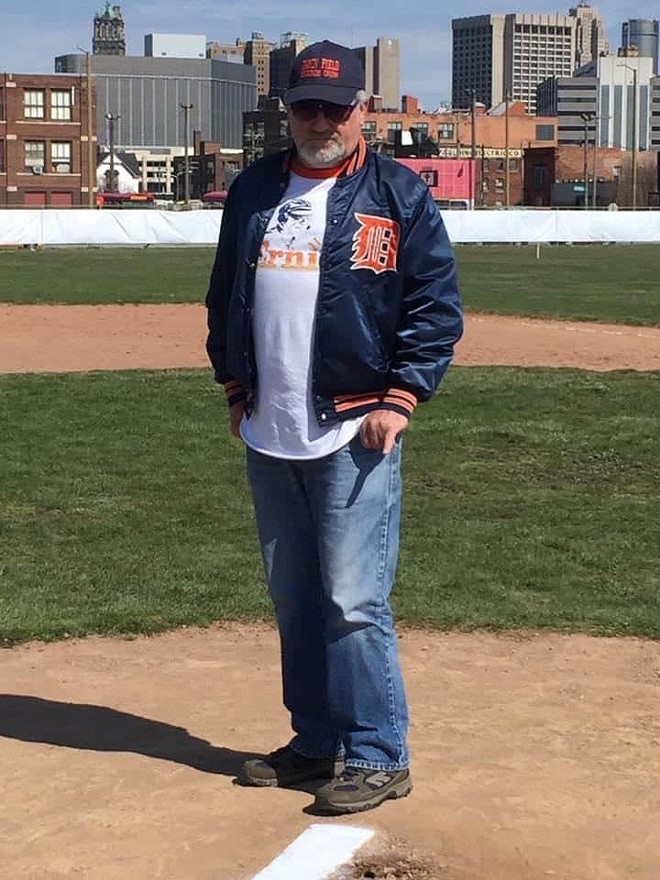 Michnuk on the pitcher's mound at the Tiger Stadium site in 2016. - ROBERT HOWE