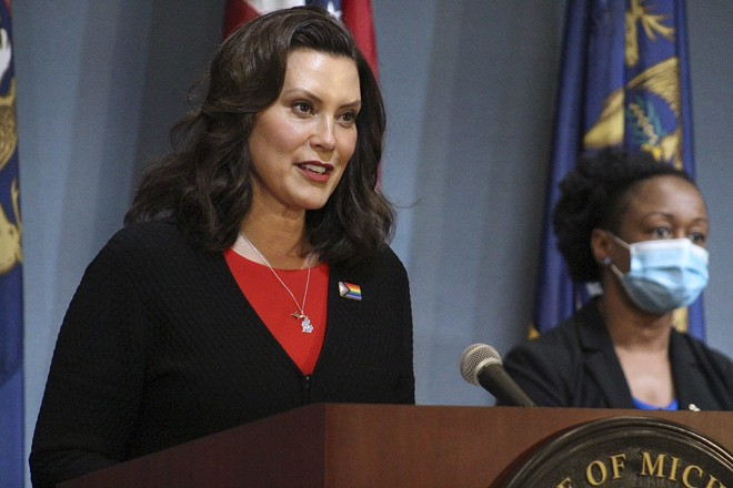 Gov. Gretchen Whitmer at a recent news conference about the coronavirus. - STATE OF MICHIGAN