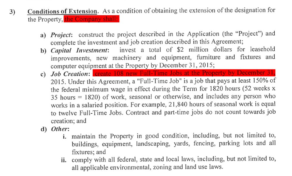 The MEDC noted that James Group International was supposed to create 108 full-time jobs in exchange for tax breaks. - MEDC