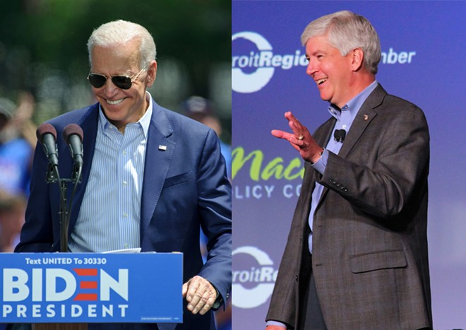 Former Republican Gov. Rick Snyder, right, endorsed Democratic candidate Joe Biden. - MATT SMITH PHOTOGRAPHER, SHUTTERSTOCK / A HEALTHIER MICHIGAN, FLICKR CREATIVE COMMONS